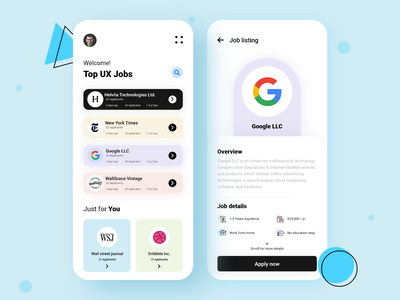 Job finder app design ui concept color linkedin job finder job listing job app design best shot clean app minimalism userexperience uiux design userinterface ux ui