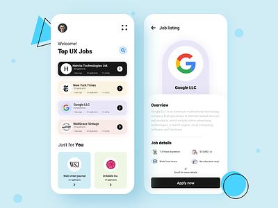Job finder app design ui concept color linkedin job finder job listing job app design best shot clean app minimalism userexperience uiux design userinterface ux ui