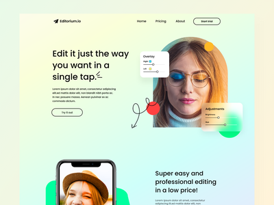 Image editing app landing page image image manipulation image editor best shots photoshop image editing best shot colors color pallete gradient glass morphism minimalism webdesign userexperience design userinterface ux ui