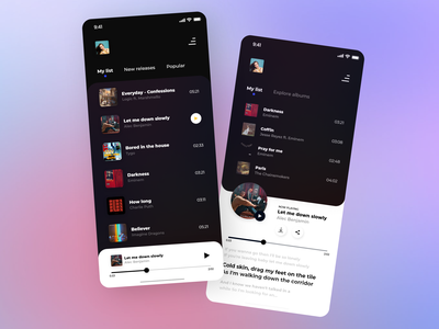 Music player application UI design music web music app artists music player best shot color pallete colors gradient music mobile ios minimalism design userinterface ux ui