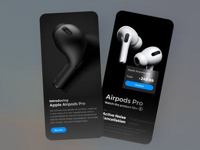Apple AirPods product UI color pallete gradient colors best shot product page ecommerce airpods apple android ios userexperience design userinterface ux ui