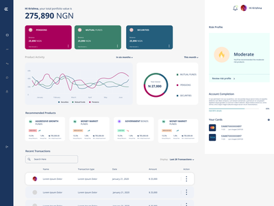 Investment Dashboard uidesign securities investment dashboard uiux