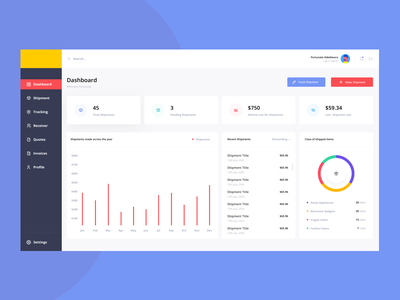 Shipment Dashboard web app design dashboard app dashboad tracking shipment