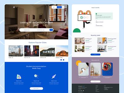 A student accommodation web app landing students web app landing page website design