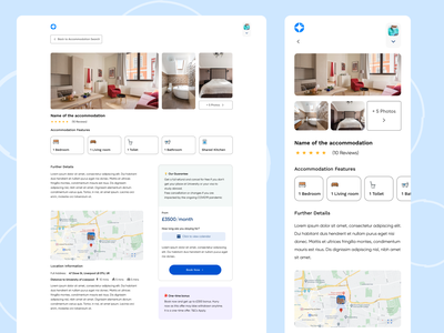 Single accommodation view student search landing page website design