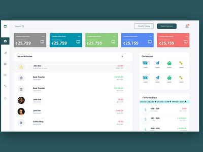 Web dashboard UI transaction payments dashboard money transfer uiux