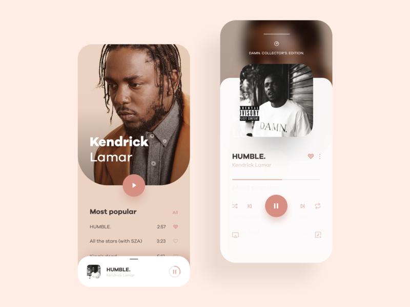 Music Player App Concept debut app hip hop rap black panther humble kendrick lamar music app music player player ui graphic design digital art direction ui design mobile app design app ui