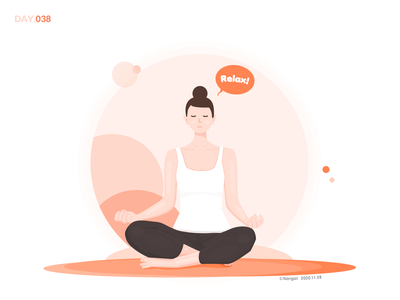 038-Calm YOGA lifestyle life girl weekend yoga pose yoga illustration design