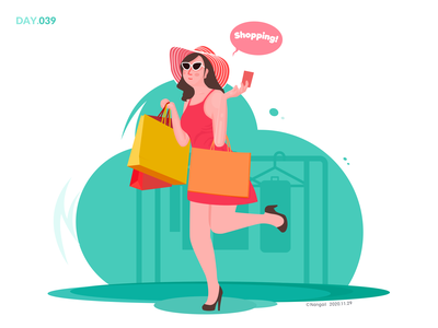 039-Go shopping design illustration shopping girl weekend happy life lifestyle