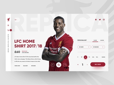 Liverpool FC - eCommerce Concept concept design concept creative premier league premierleague liverpool liverpool fc soccer football club football product product page webdesign ui  ux shop sports design ui design eccomerce
