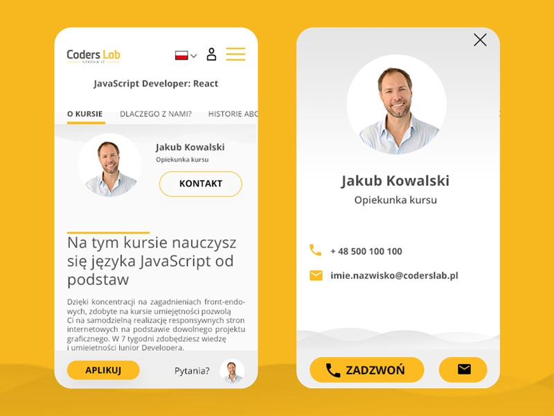 CL - About The Course / extra small - mobile school it mobile web mobile course about contact poland pielachpawel design web graphic webdesign ui