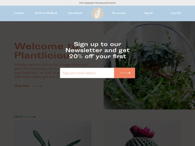 Landing page for Plant Shop 1/2