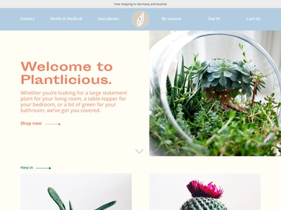 Landing page for Plant Shop 2/2