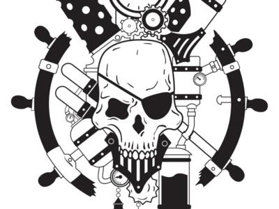 Bones Con events identity logo steampunk skull illustrator vector illustration graphic design