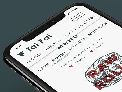 Tai Fai Mobile Site menu mobile sushi ui