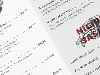 Tai Fai Menu menu print sushi