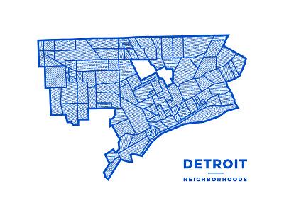 Det Neighborhoods Poster type art blue neighborhoods map poster screenprint detroit