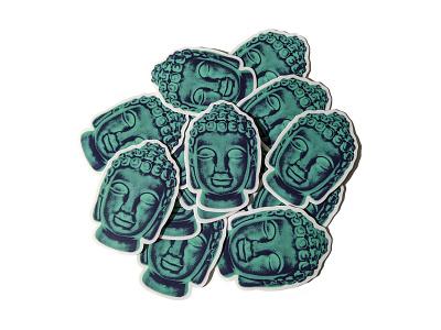 Zen Stickers enlightened yoga buddhism sticker design teal graphic buddha zen