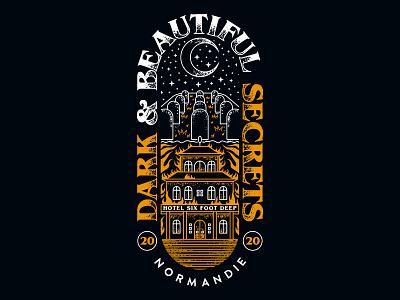 HOTEL SIX FOOT DEEP sweden swedish hotel death merchandise graveyard evil stars orange and white crescent moon hell fire flames t-shirt design merch design rock metal