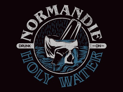 HOLY WATER illustration graphic ocean blue and white death rock metal metalcore drunk wine skull holy water merchandise merch design