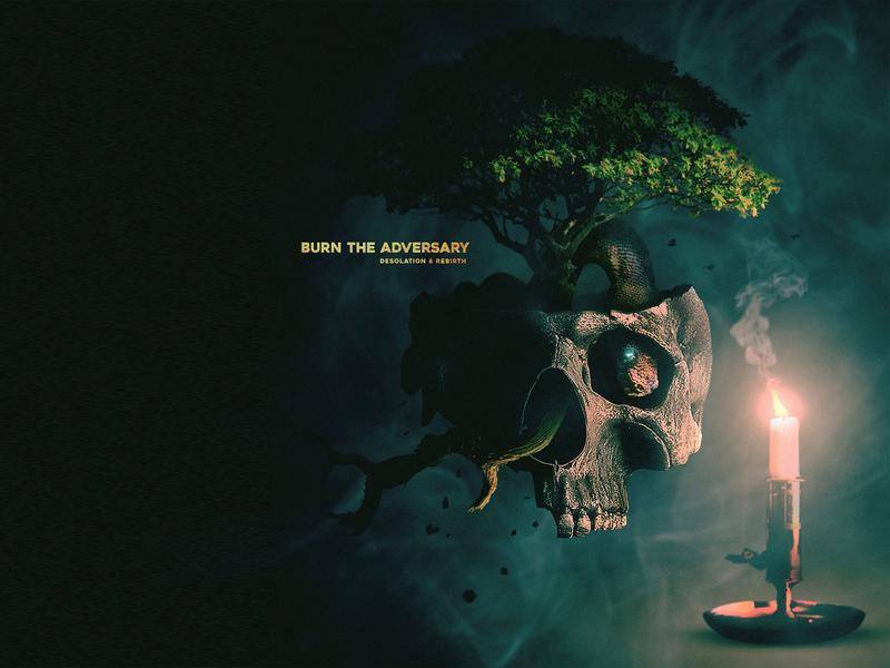 "Album Cover - ""Desolation & Rebirth"" - Commission Work artworks album cover album art death and rebirth death metal subtle blue fire burn surrealism tree candle skull"