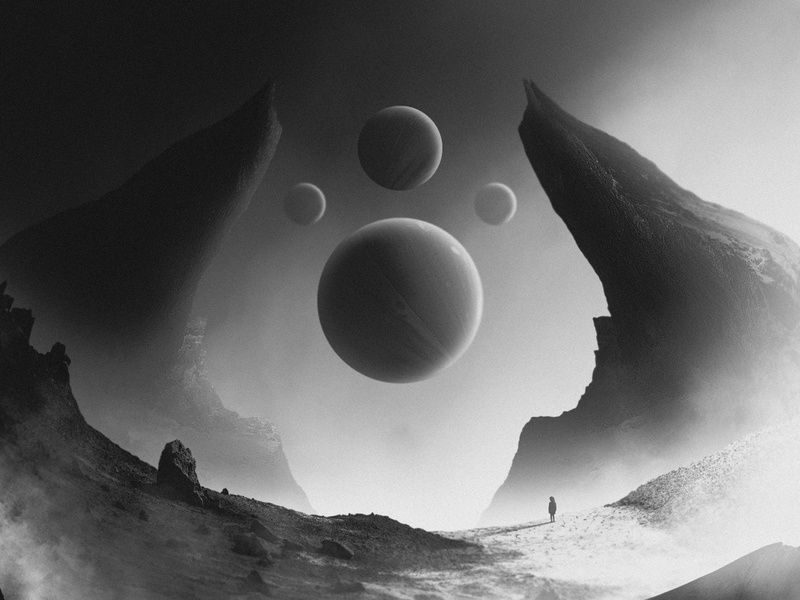 Alone & Depressed landscape mountains greyscale black and white loneliness death surreal surrealism abstract abstract art photomanipulation planetary planets depression alone artworks album art artwork personal