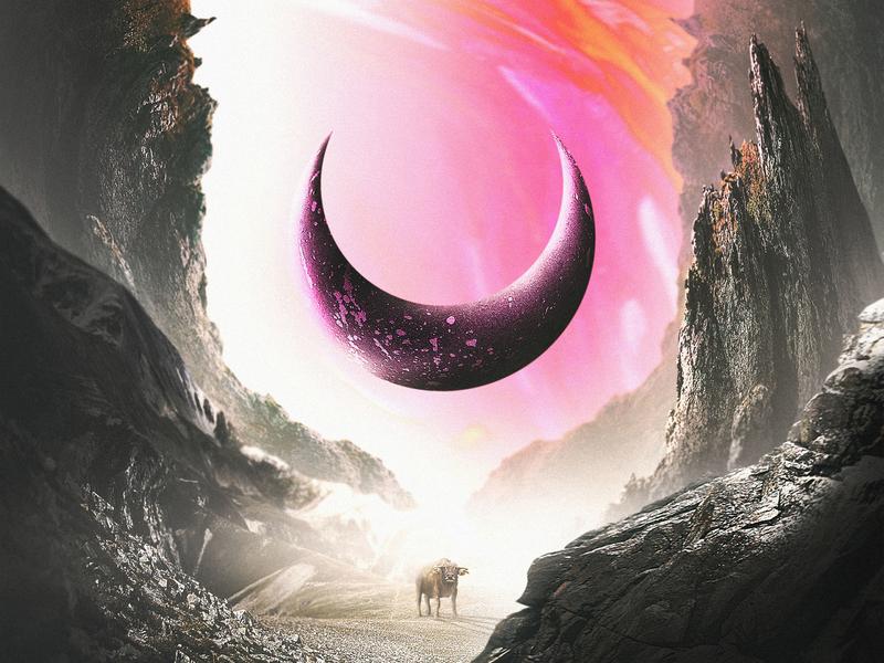 Fantasy Bull metal pink sky landscape mountains adobe photoshop photomanipulation moon crescent moon bull surrealism abstract art