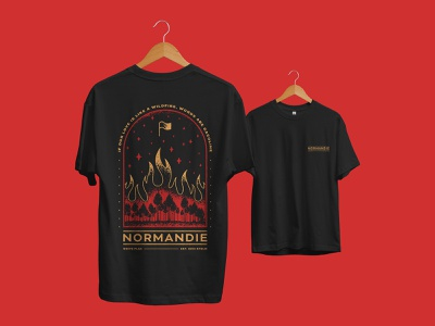 Wildfire illustration music rock metal flag stars orange red apparel design flames fire forest woods merch design merchandise wildfire