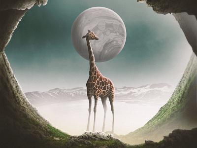 Fantasy Giraffe creative fantasy mountains photomanipulation grey grass green artwork album artwork landscape blue sky planet surrealism abstract art giraffe