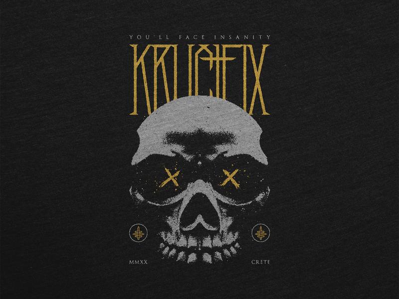 Skull XX artwork illustration death deathcore metalcore metal dark crucifix photo manipulation grey yellow typography merchandise merch design skull