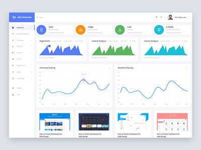 ANA University - Dashboard app web user interface admin template web template education college university dashboard