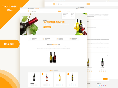 Winecheers website template theme woo commerce e-commerce vineyards breweries online wine pubs bars wine shop