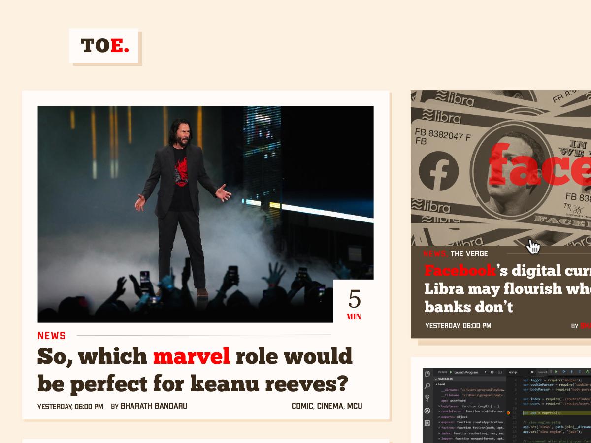 Theory of Everything - Blog wireframes website ui blog design