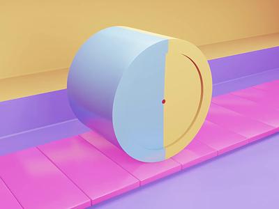 Rolling cylinder loop animation 3D asmr illustration logo designer clean illustation drawing graphics webdesign design branding animation 3d