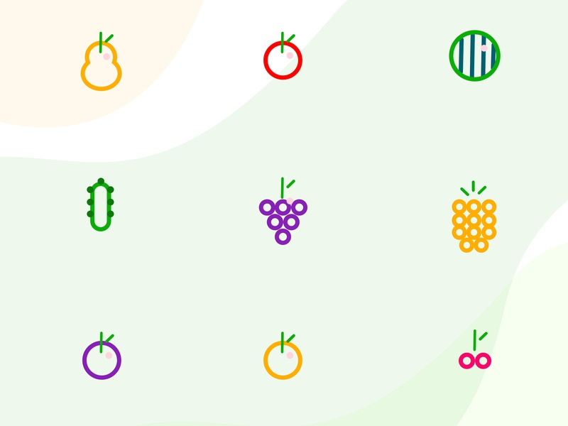 Fruit Icons + PSD icon logo branding website illustration psd trendy clean designer drawing webdesign graphics design