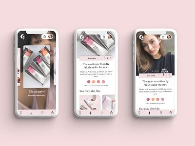 Glossier application ui design ui  ux ux design uidesign mobile app design mobile app mobile ui cosmetics beauty cosmetic mobile design web website ui ux design art direction
