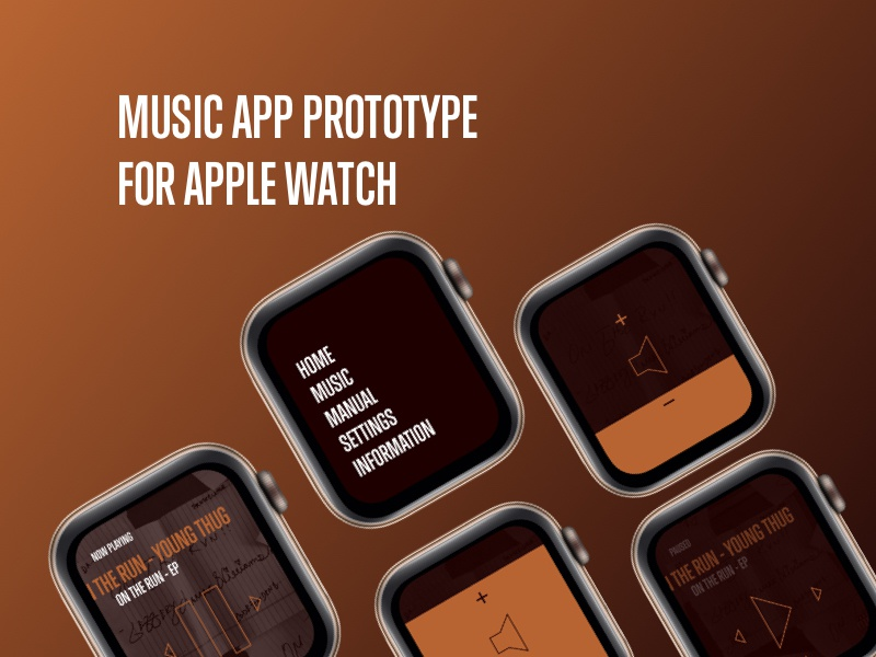 Music App Prototype for Apple Watch bold design bold music typography apple devices minimal dark design watch app watch face watch ui watch apple