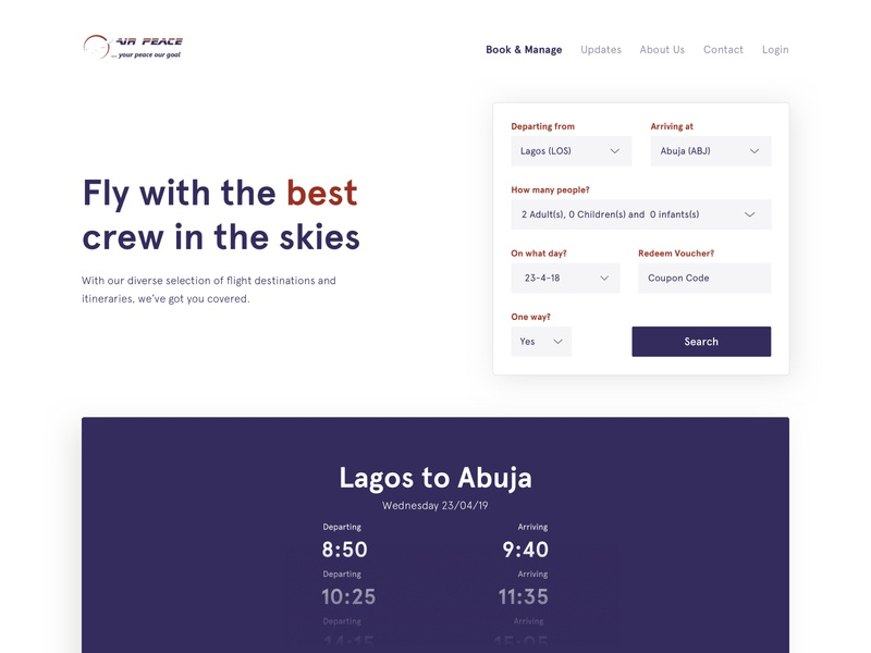 Air Peace Flight Search Redesign