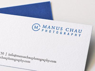 Manus Chau Photography Letterpress Business Card Design letterpress business card design branding logo design logo