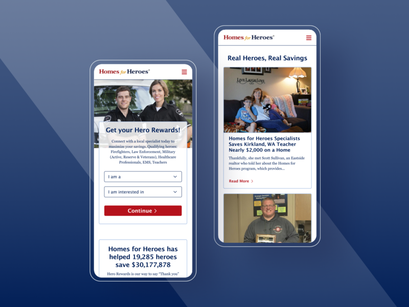Homes for Heroes Case Study mobile product design ux ui law enforcement police firefighter military responsive design marketing site homepage public site landing page nurses medical professionals teachers veterans real estate