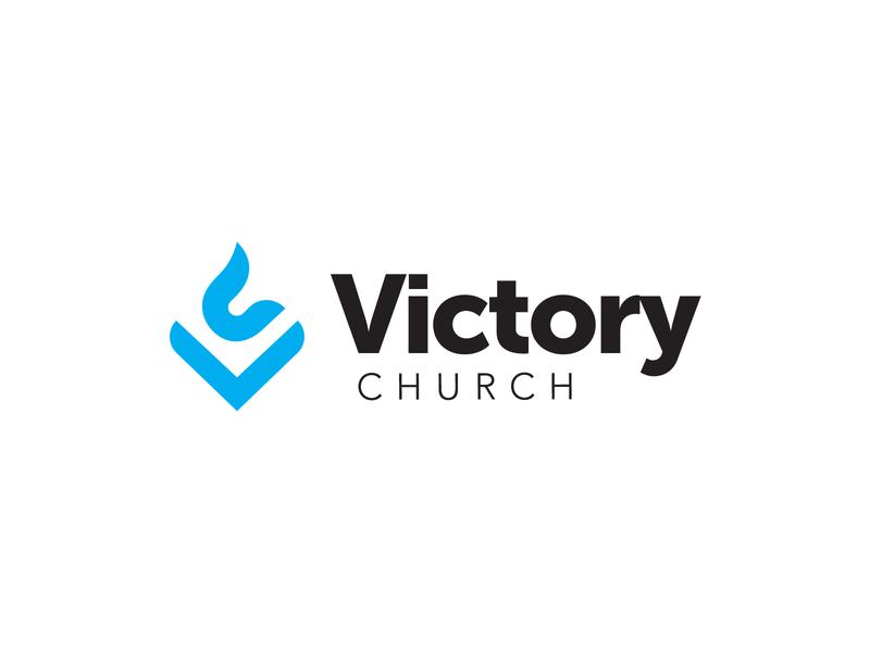 Victory Church minimal vector icon god illustrator design church typography branding logo