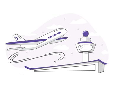 Airport adventure airplane plane airports commute wanderlust travel airport minimal icon vector illustration design