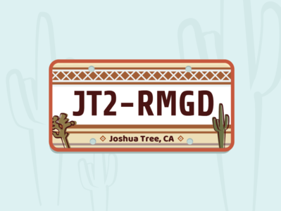 Joshua Tree License Plate