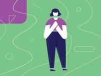 A Good Impression woman interview job impression ui icon vector illustration design