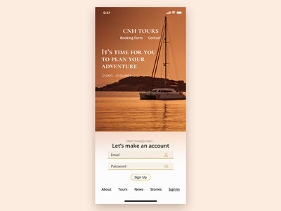 Mobile Sign Up - Daily UI #001 daily ui 001 background blur navigation clean simple sign up log in ui mobile ui travel