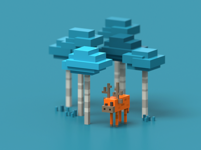Blocky Forest kawaii game art 3d minecraft illustration pixel voxelart magicavoxel