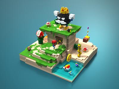 Mario 128 blue 8bits illustration pixel 3d retro minecraft mario bros voxelart magicavoxel mariobros