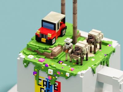 Salento 3d pixel illustration voxel art magicavoxel