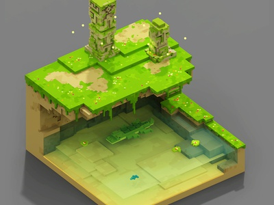 Sacred Pond south america colombia voxel art 3d pixel 8bits voxelart magicavoxel voxel