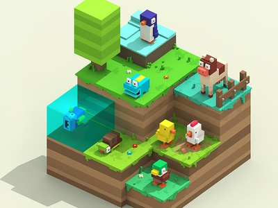 Crossy Road Characters retro pixel characters colombia crossy road game art games magicavoxel voxel art voxel